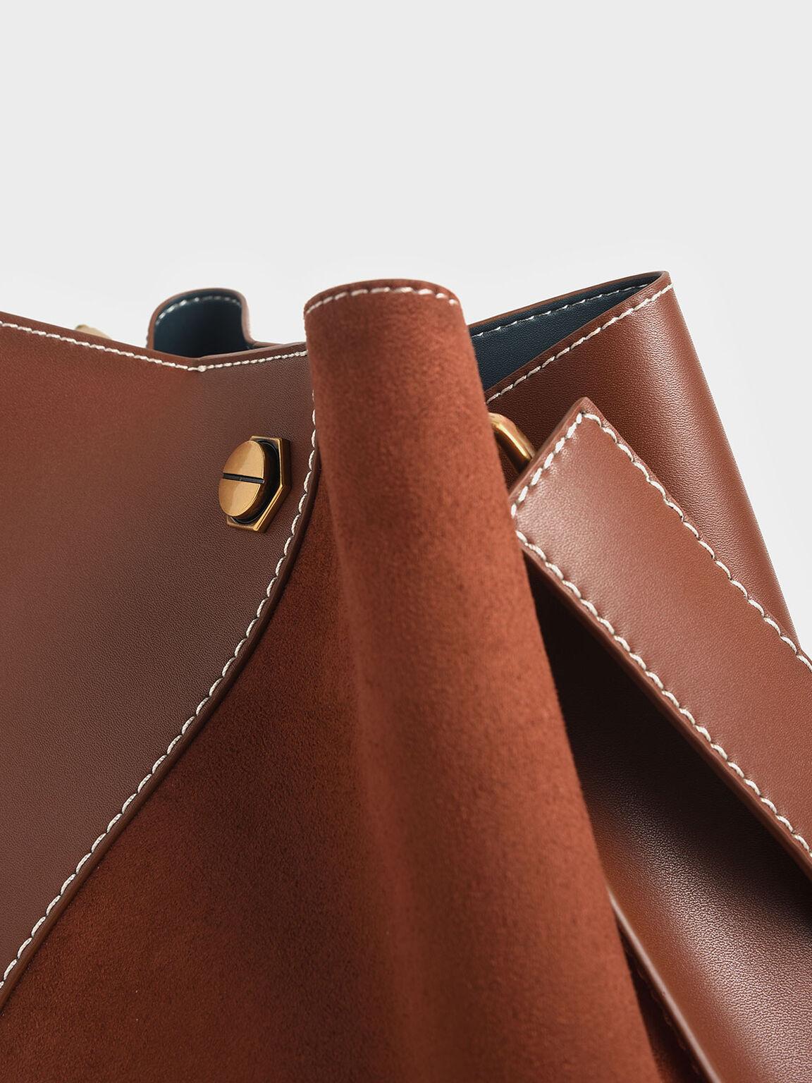 Studded Textured Hobo Bag, Dark Brown, hi-res