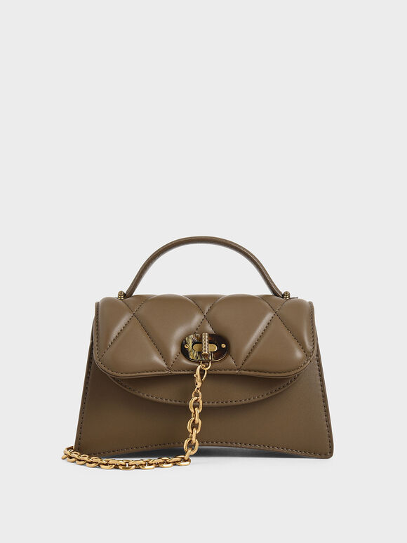 Padded Chain Link Bag, Khaki, hi-res