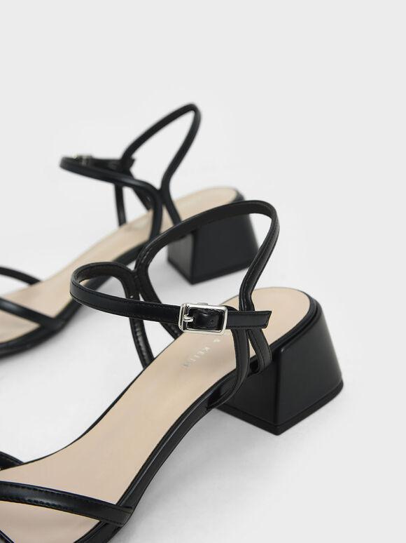 Strappy Block Heel Sandals, Black, hi-res