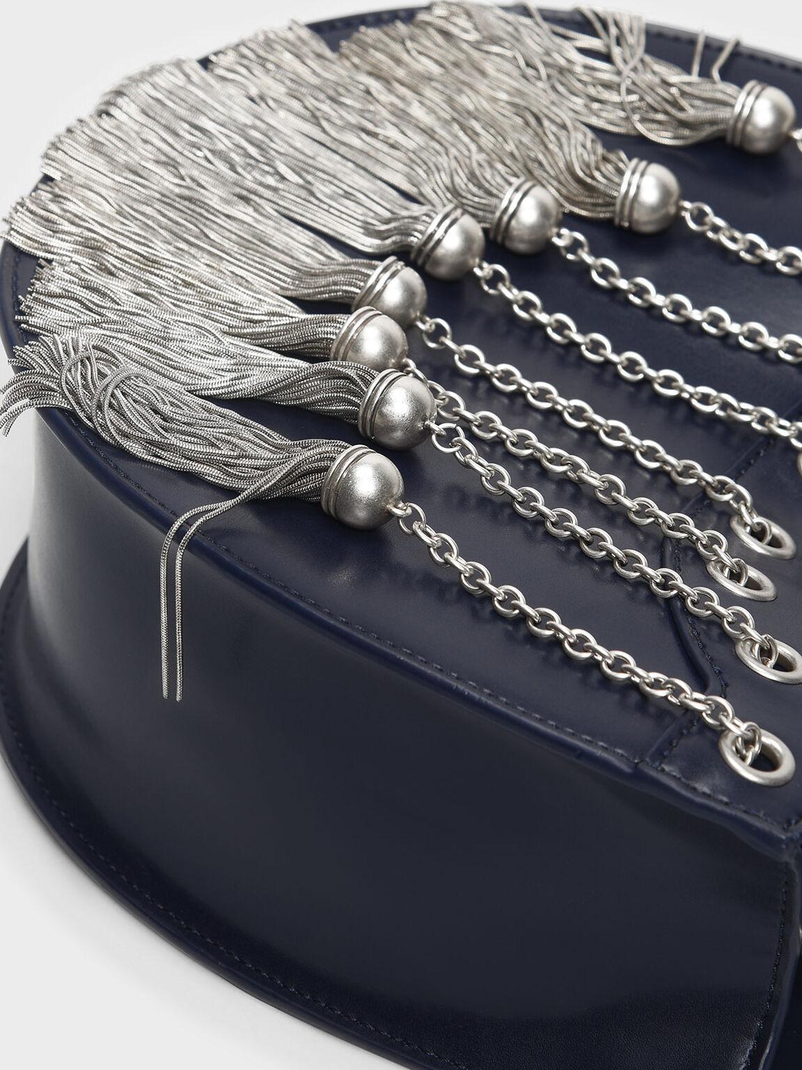 Tassel Detail Hobo Bag, Dark Blue, hi-res