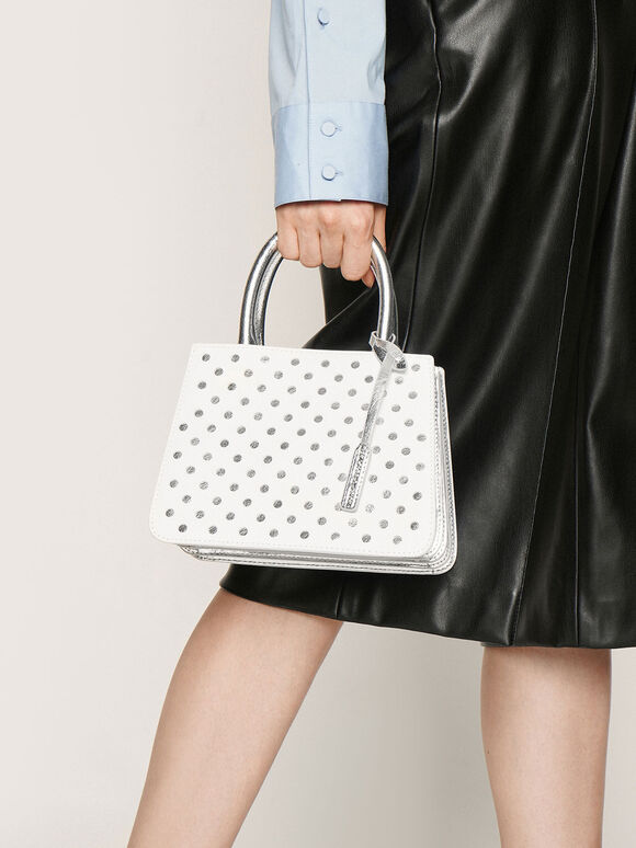 Laser-Cut Handbag, White, hi-res