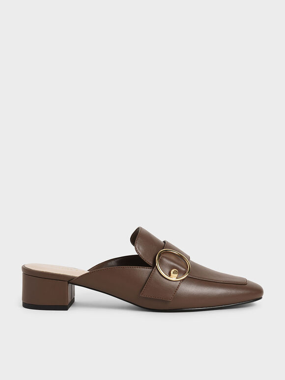 Ring Embellished Loafer Mules, Brown, hi-res