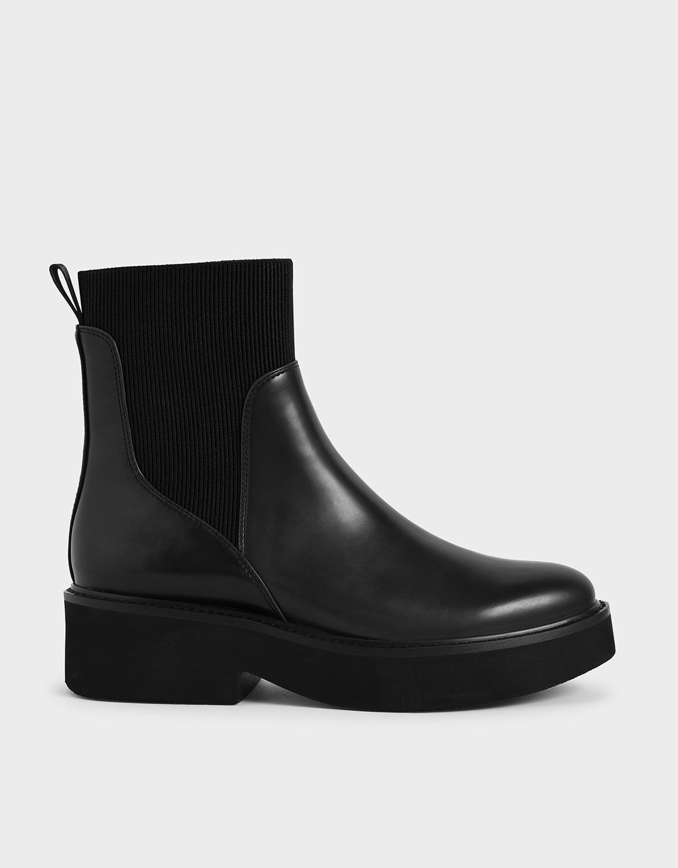 Black Ankle Sock Boots   CHARLES \u0026 KEITH AU