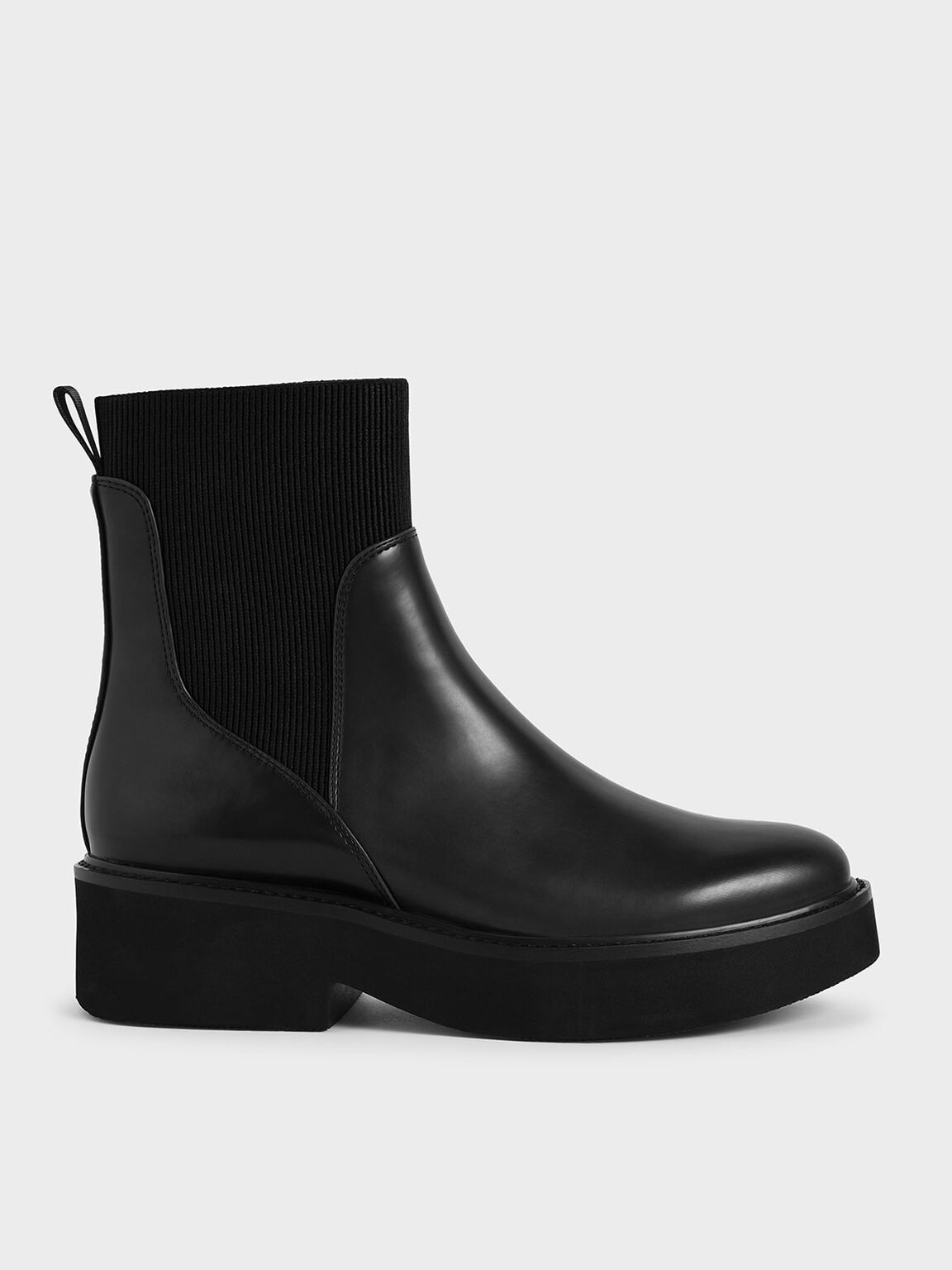 Ankle Sock Boots, Black, hi-res