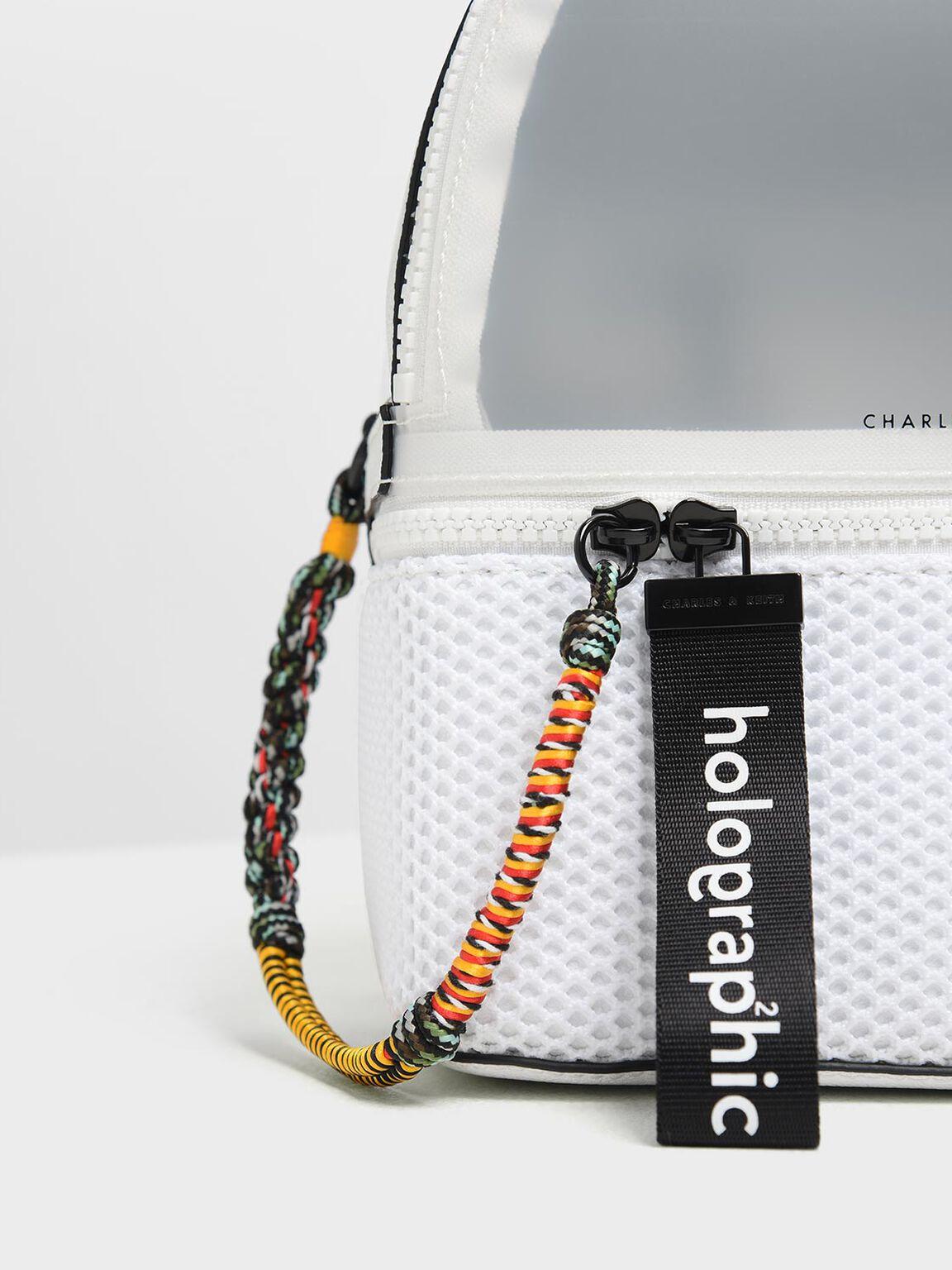 Mesh Detail Backpack, White, hi-res
