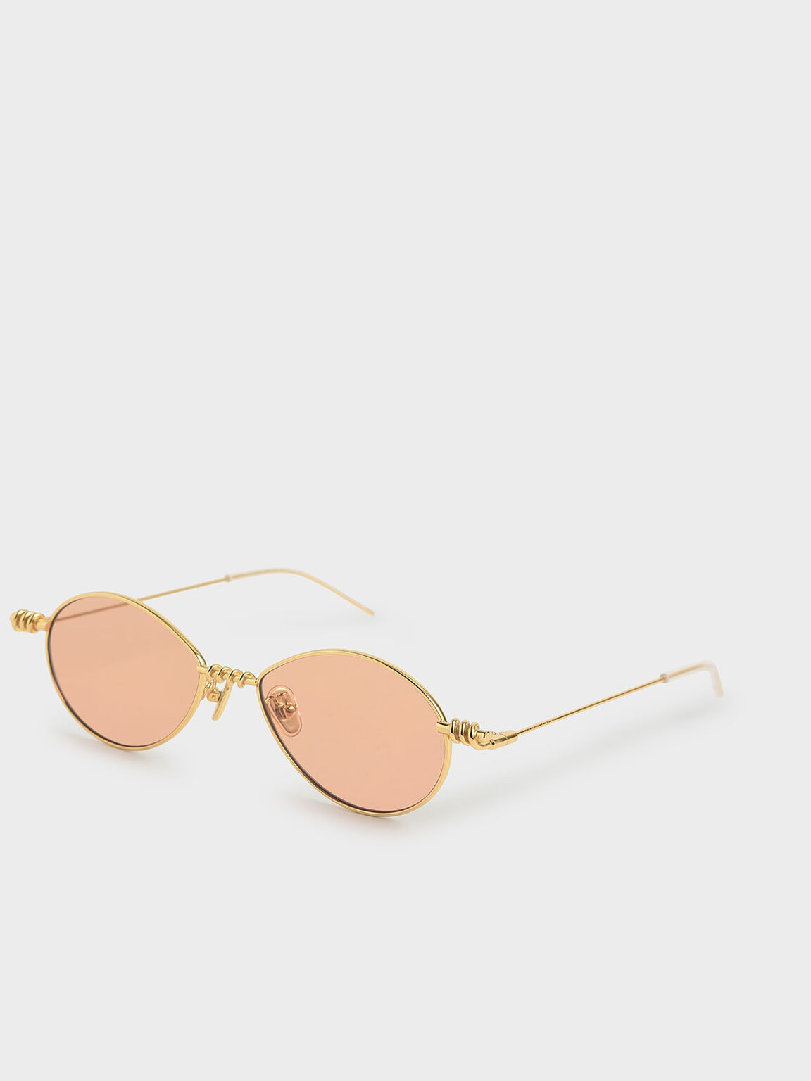Twine Detail Oval Sunglasses, Orange, hi-res