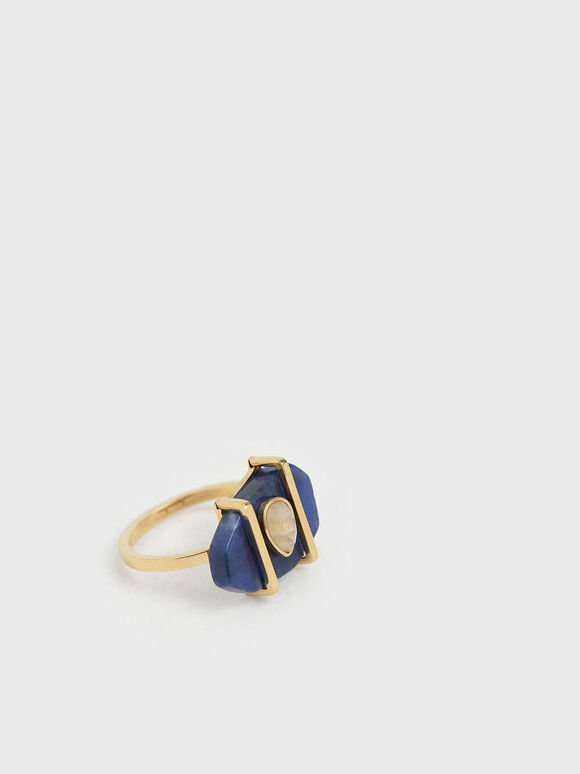 Sodalite & Moonstone Teardrop Ring, Dark Blue, hi-res