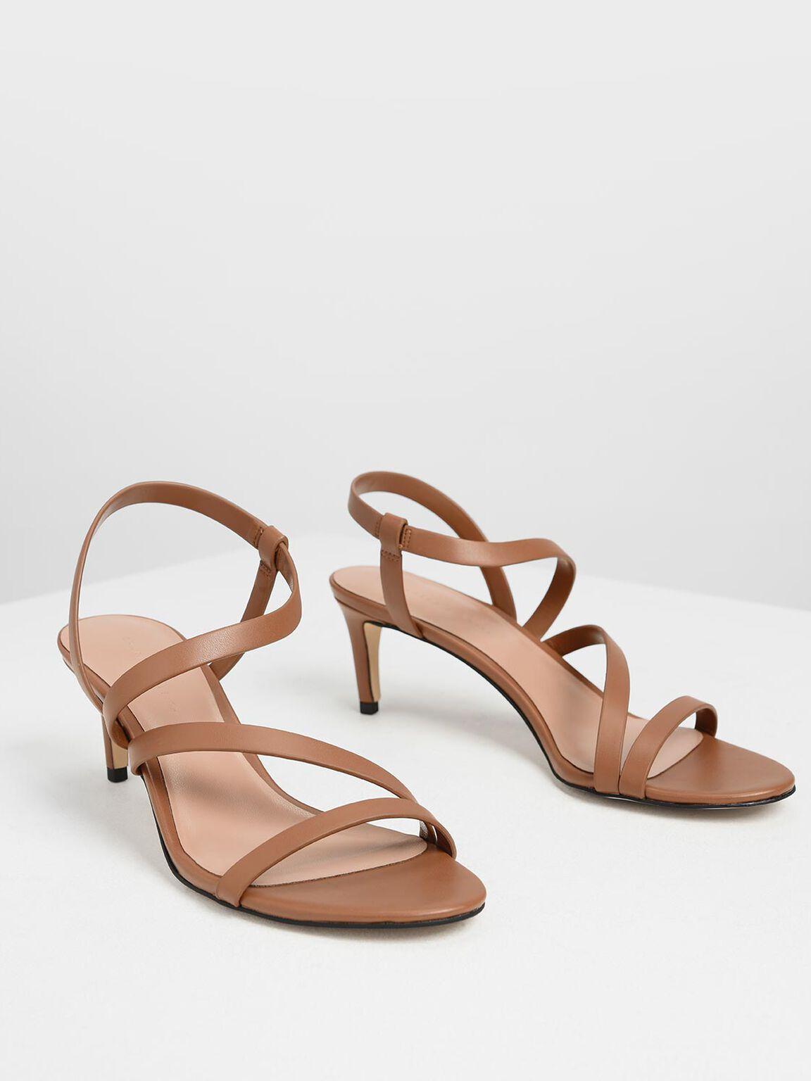 Open Toe Strappy Sandals, Cognac, hi-res