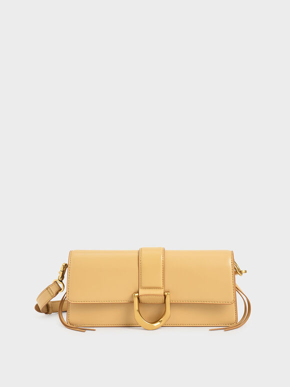 Metallic Buckle Shoulder Bag, Yellow, hi-res