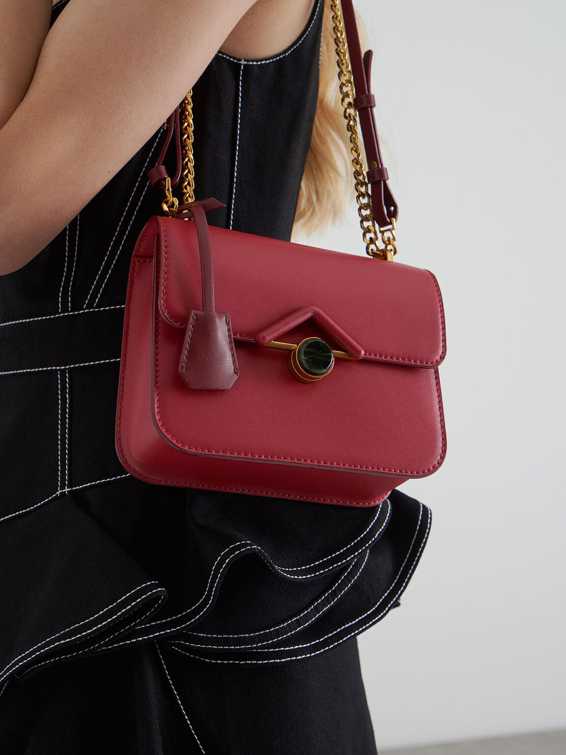 Stone Embellished Crossbody Bag, Rose, hi-res
