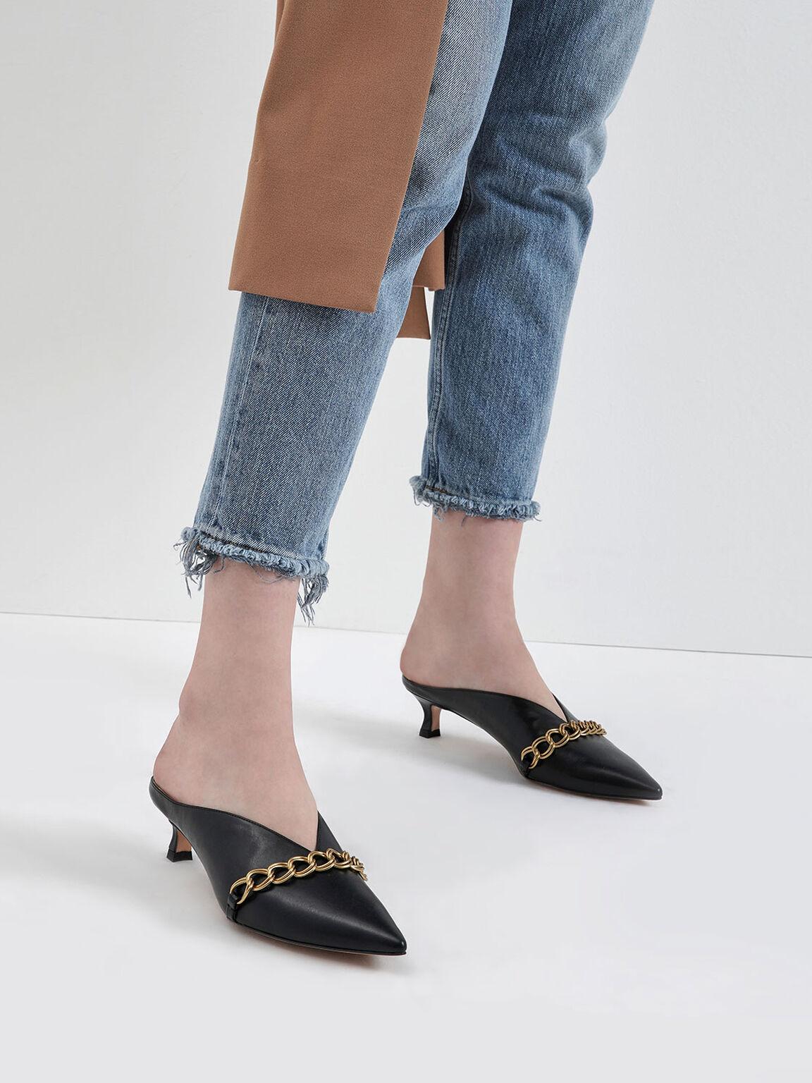 Chain Strap V-Cut Mules, Black, hi-res