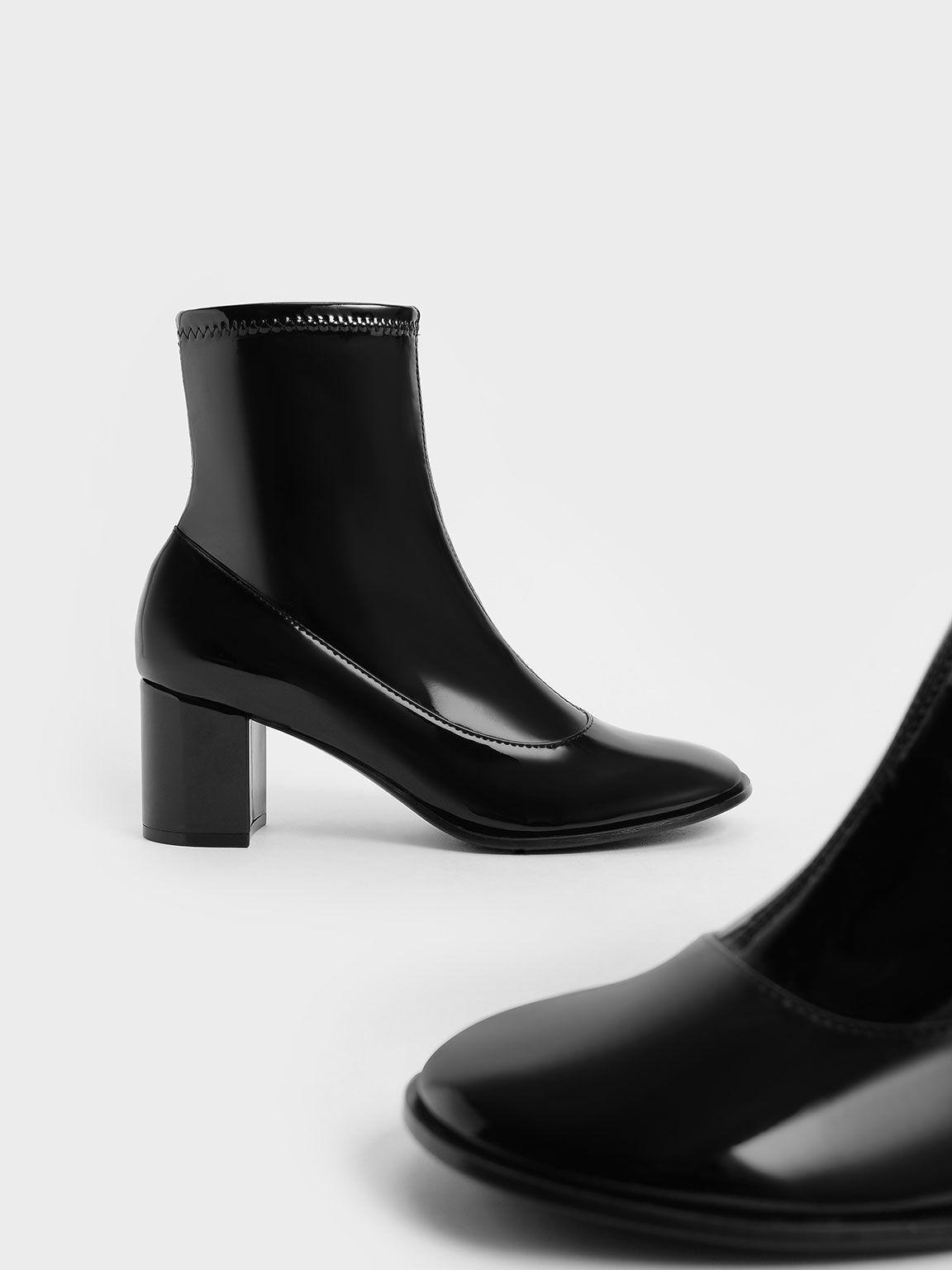 Patent Block Heel Side-Zip Ankle Boots, Black Textured, hi-res
