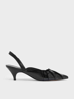 Ruched Wrinkled Patent Slingback Heels, Black
