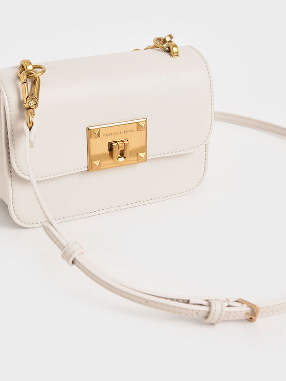Metallic Turn-Lock Bag, Ivory, hi-res