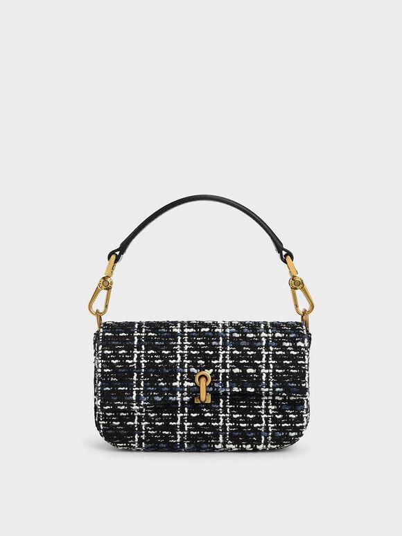 Tweed Turn-Lock Front Flap Bag, Multi, hi-res