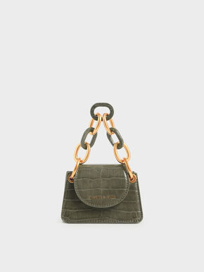 Croc-Effect Chunky Chain Handle Mini Bag, Olive