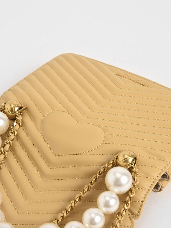Beaded Handle Crossbody Bag, Yellow, hi-res