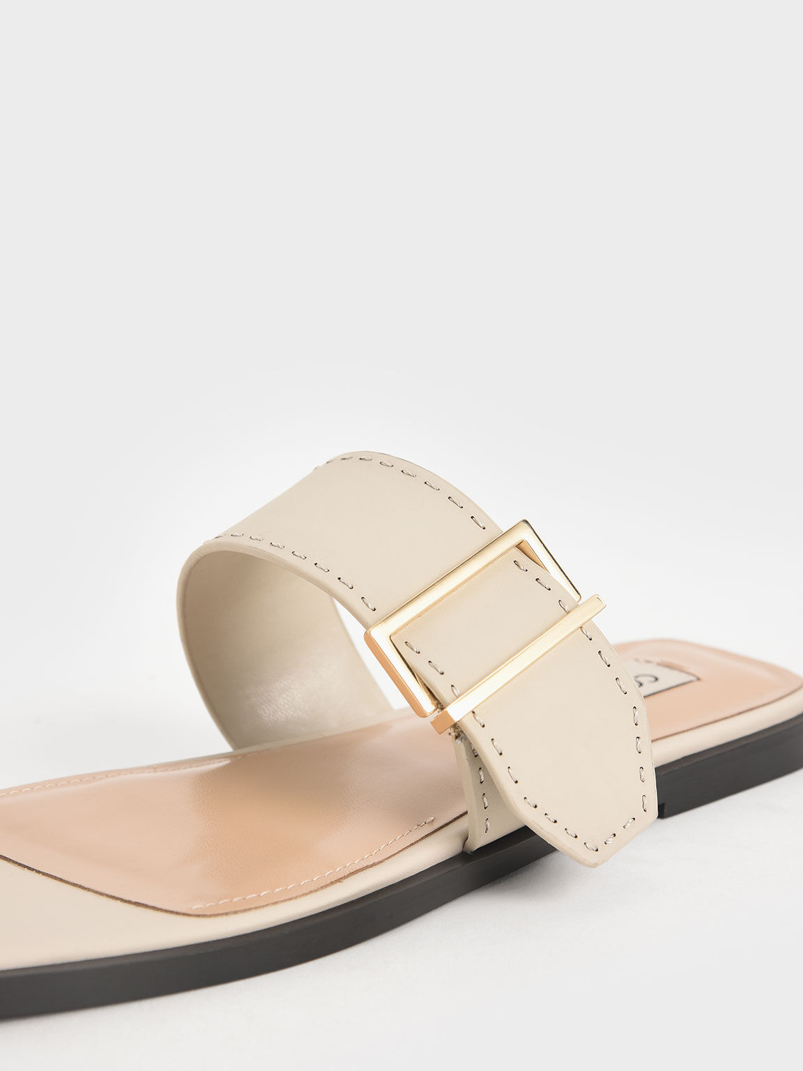 Leather Metallic Buckle Flats, Chalk, hi-res