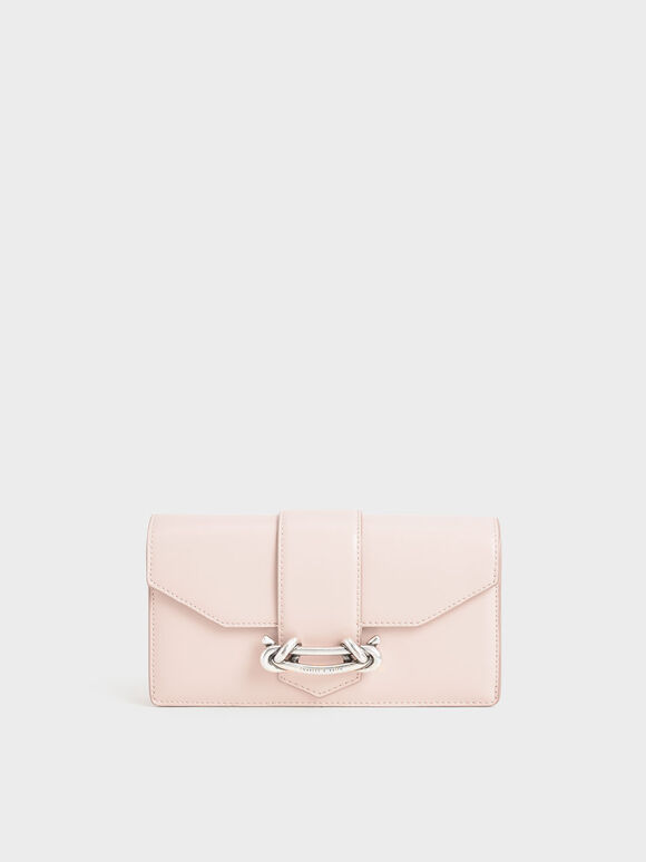 Metallic Buckle Mini Long Wallet, Light Pink, hi-res