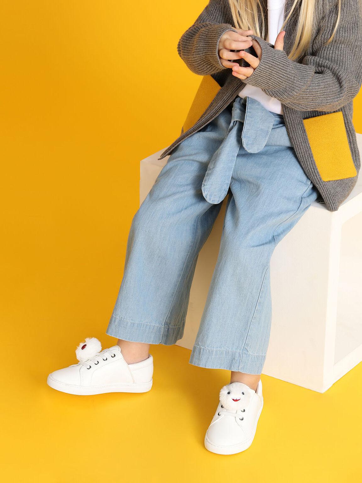 Kids Pom Pom Sneakers, White, hi-res
