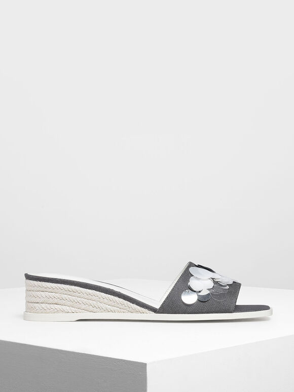 Sequin Embellished Espadrille Wedges, Light Grey, hi-res