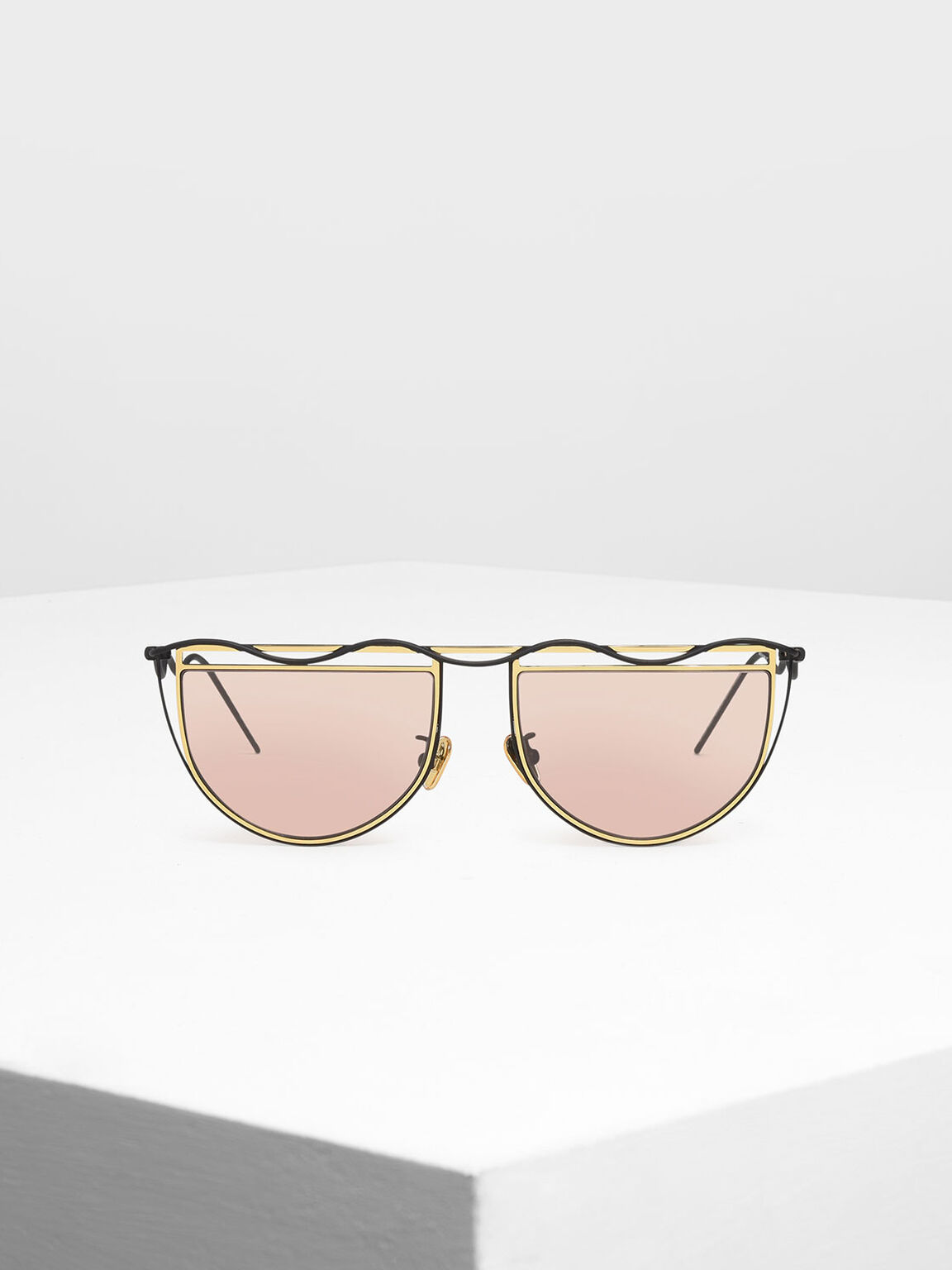 Drop Temple Semi-Circle Sunglasses, Gold, hi-res