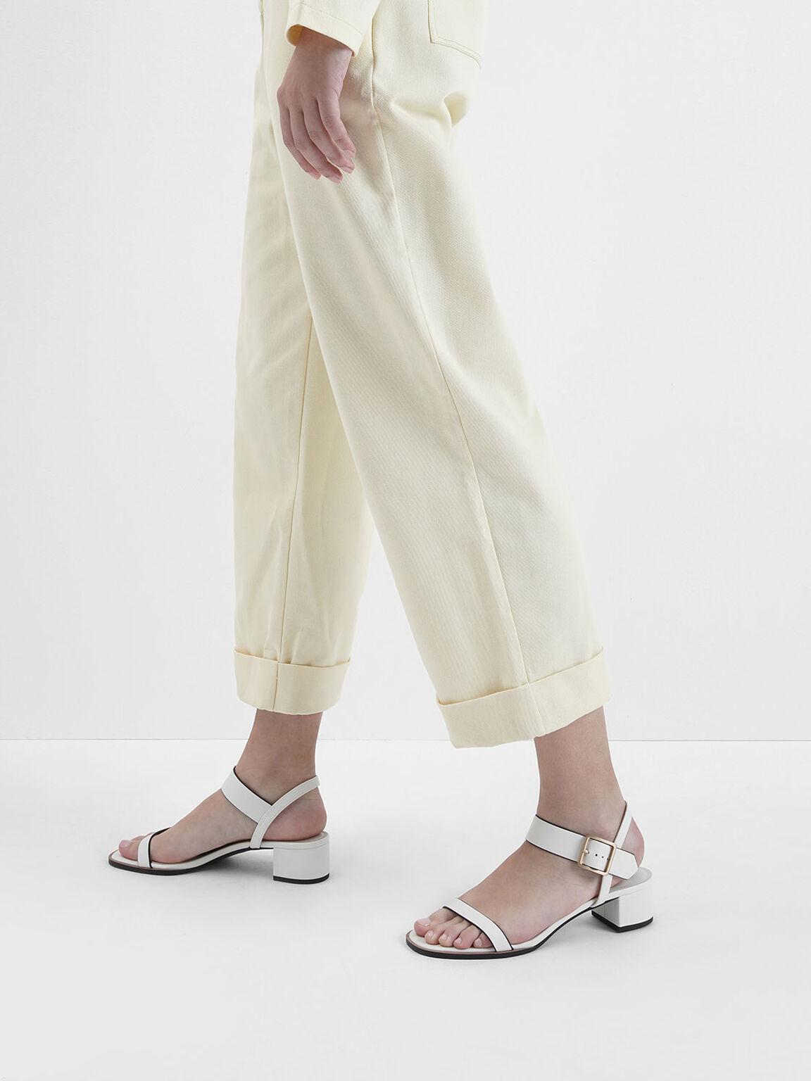 Frame Buckle Block Heel Sandals, Cream, hi-res