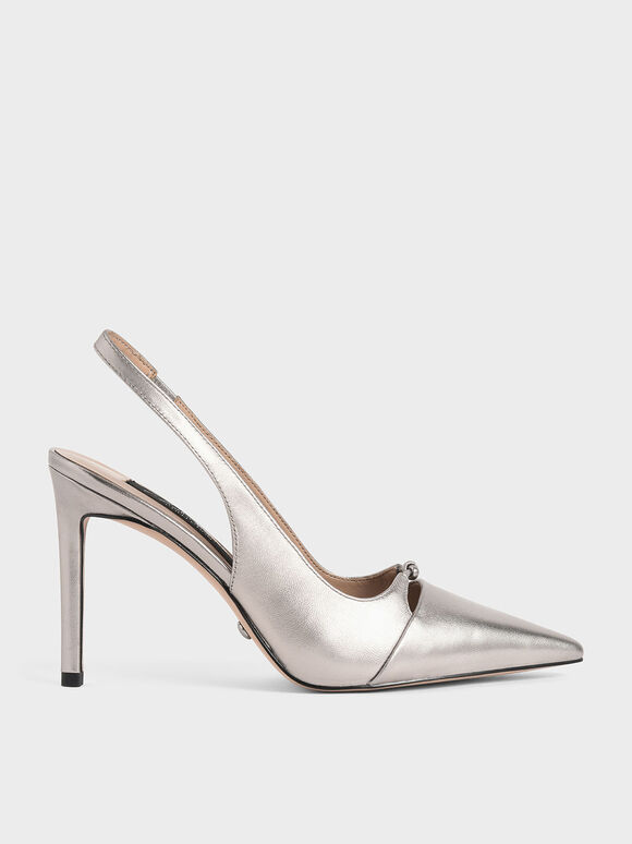 Leather Stiletto Heel Slingback Pumps, Champagne, hi-res