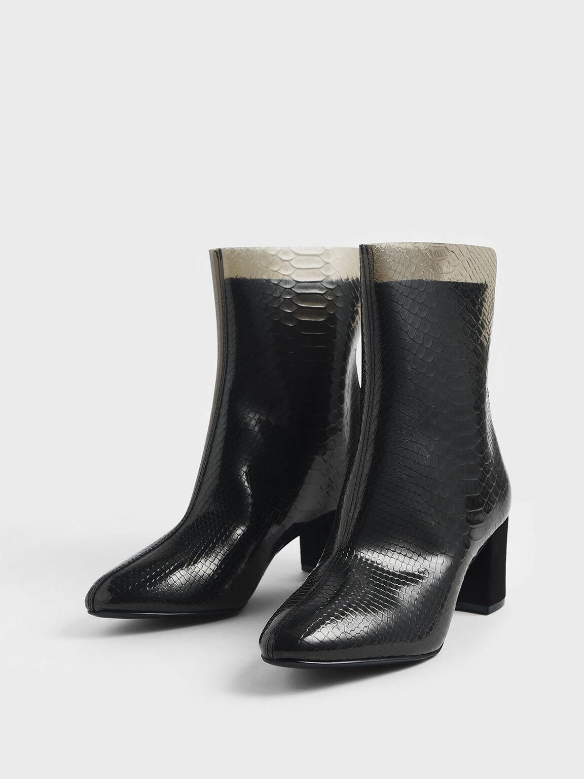Snake Print See-Through Effect Block Heel Calf Boots, Black, hi-res