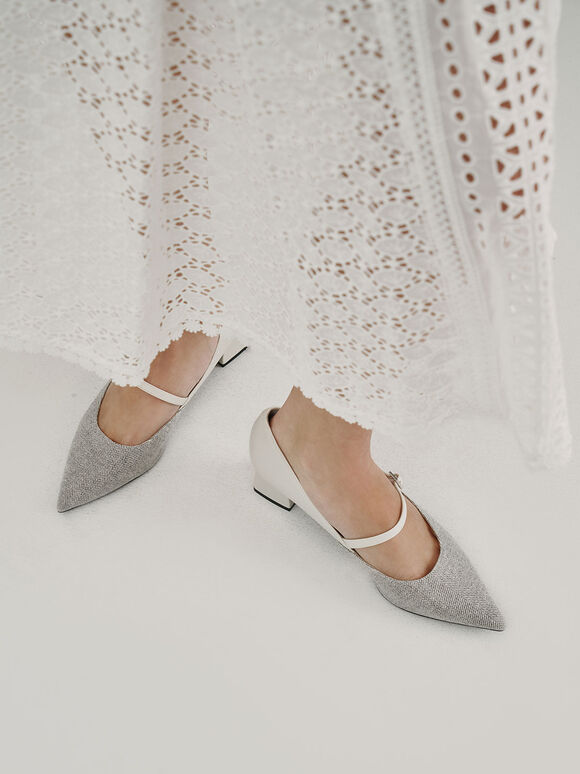 Woven Mary Jane Pumps, Light Grey, hi-res