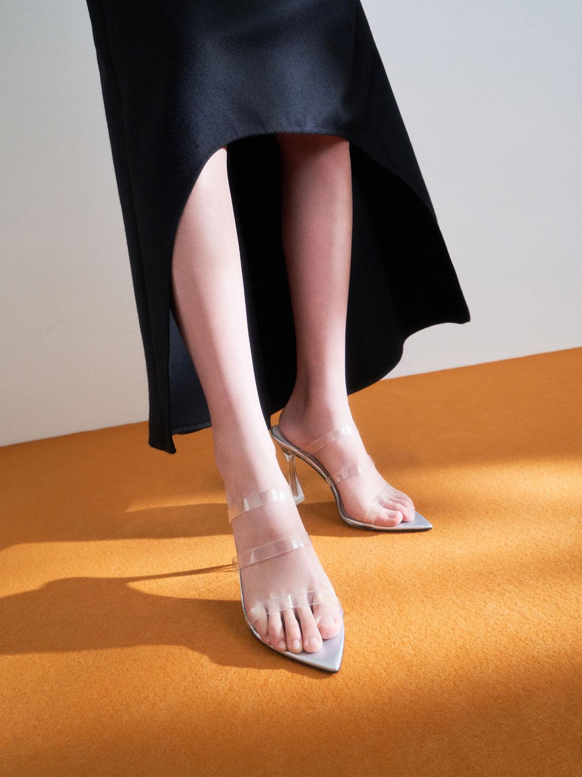 Clear Strap Sculptural Heel Sandals, Silver, hi-res