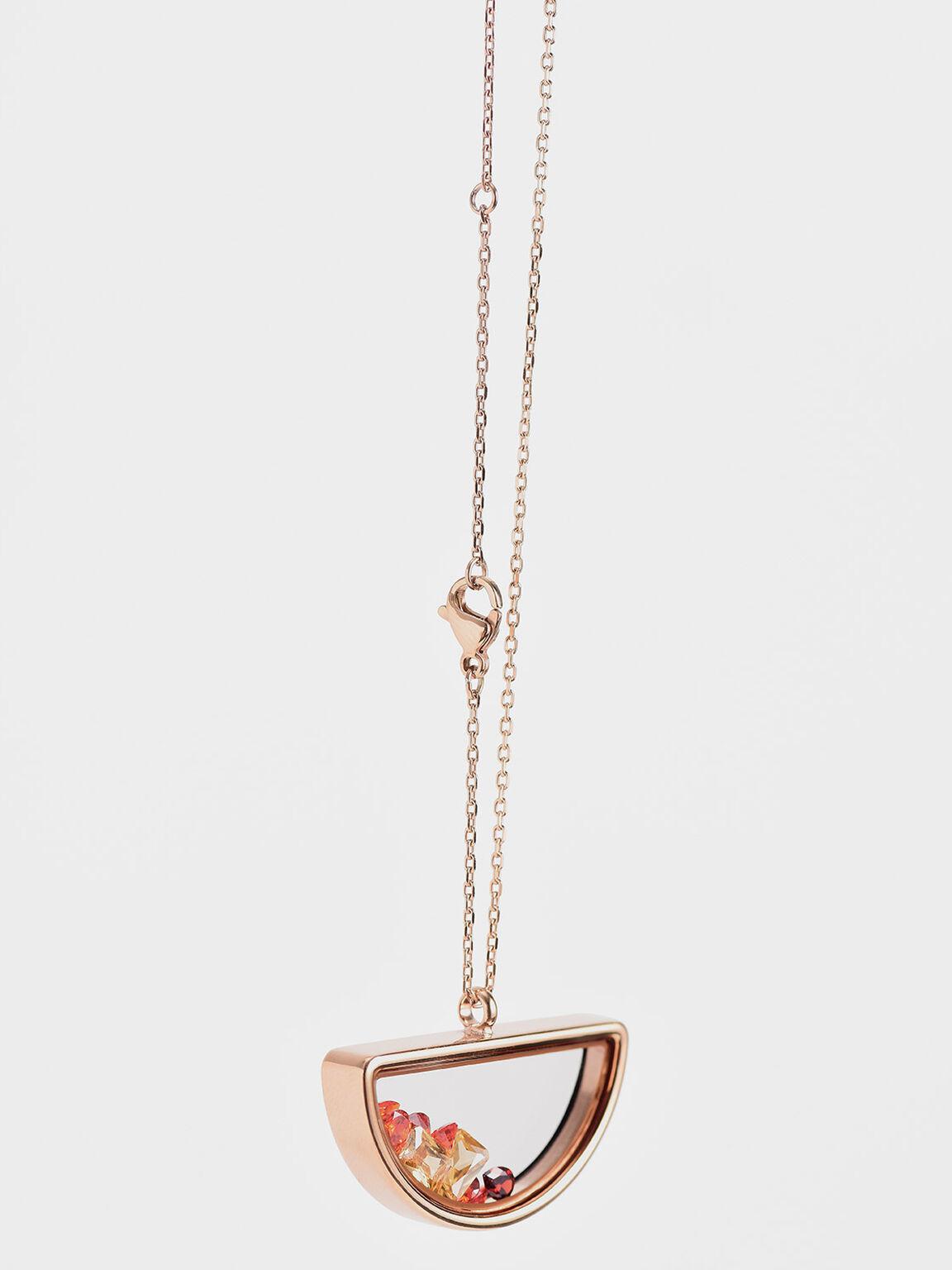 Semi-Circle Floating Locket Necklace, Rose Gold, hi-res