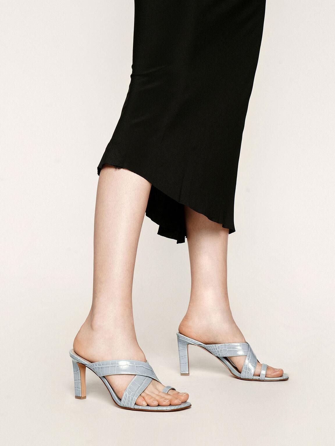 交叉帶夾腳拖鞋, 藍色, hi-res