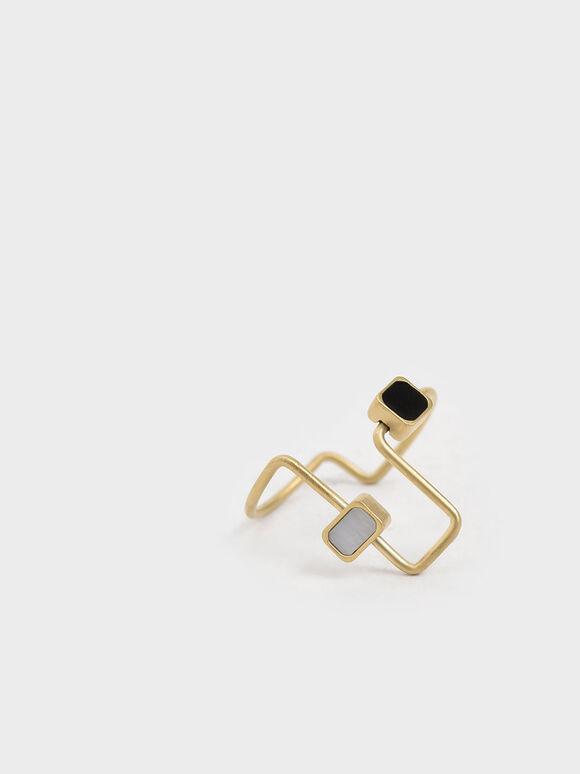 Mother Of Pearl Sculptural Ring, Gold, hi-res