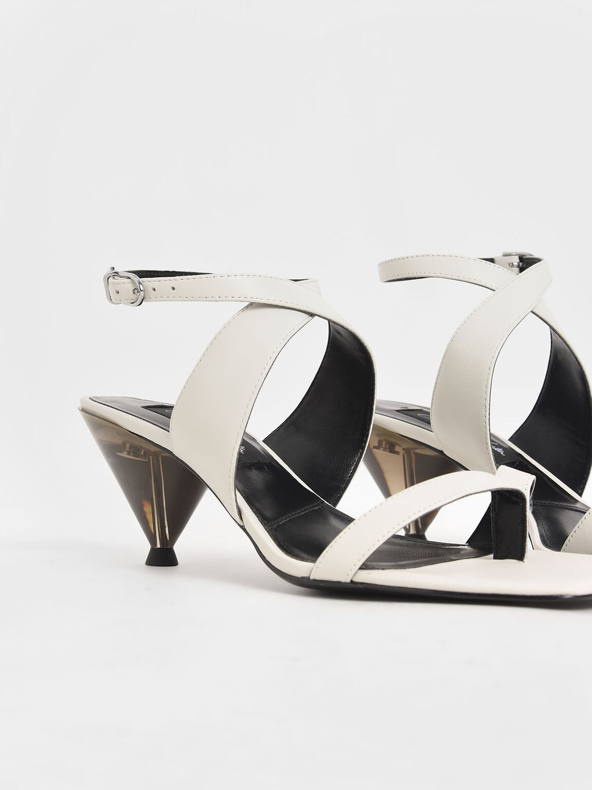 Leather Cone Heel Sandals, White, hi-res