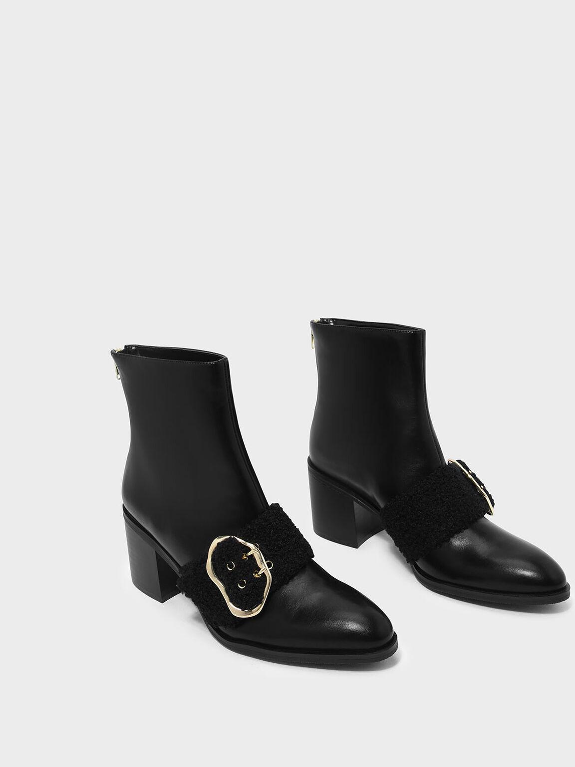 Furry Strap Detail Calf Boots, Black, hi-res