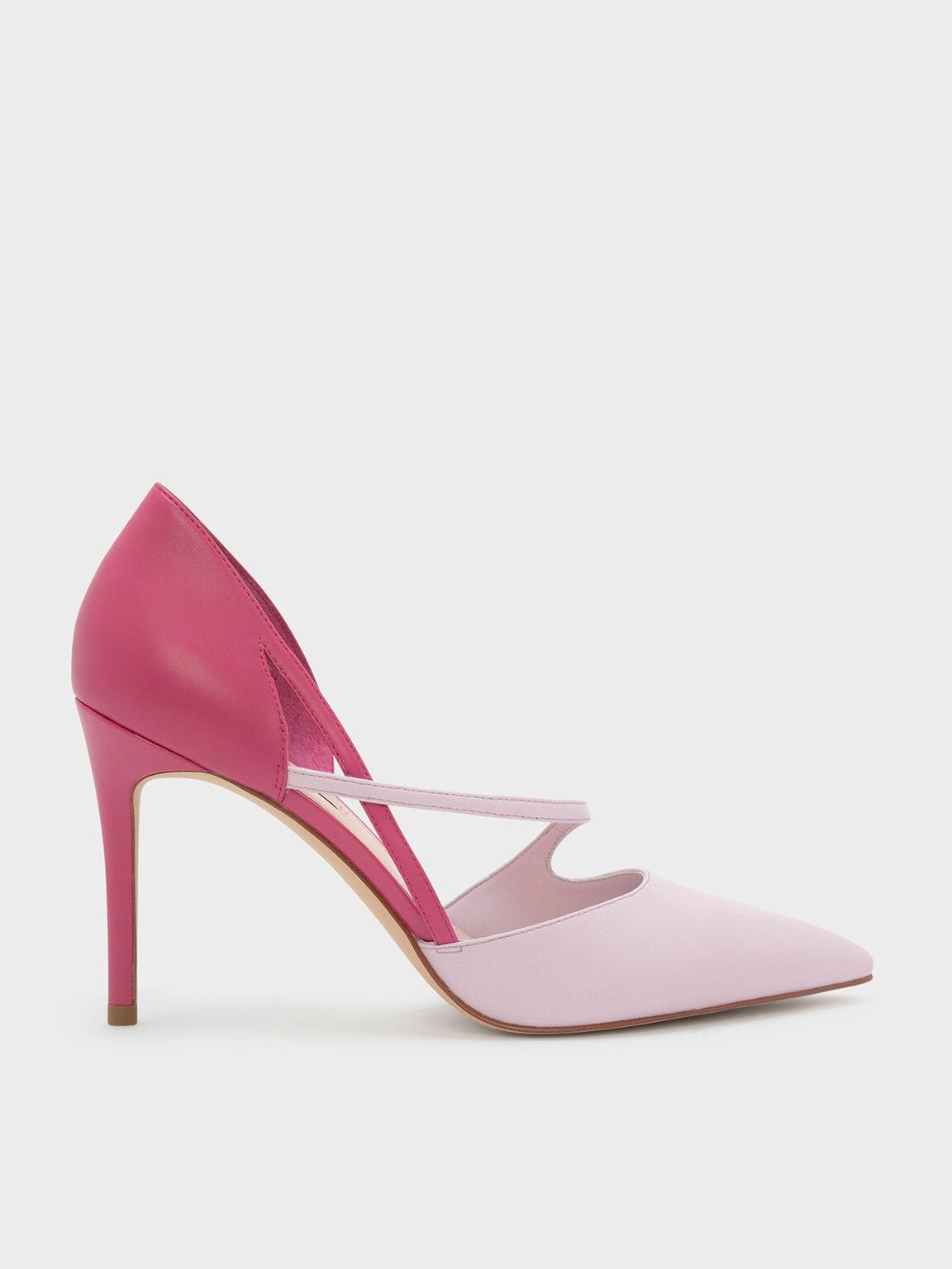 Asymmetrical Strap D'orsay Pumps, Pink, hi-res