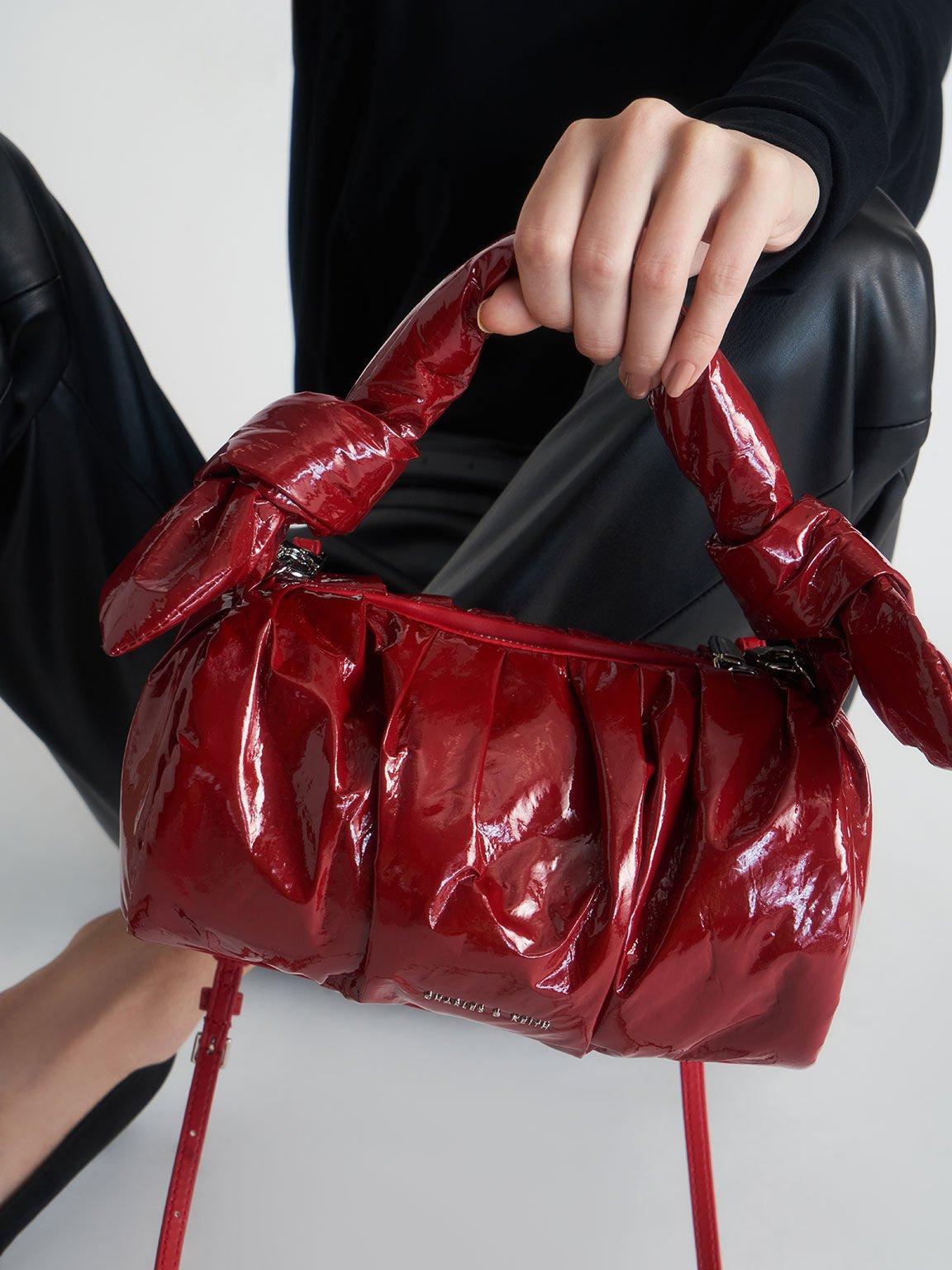 Patent Knotted Shoulder Bag, Red, hi-res