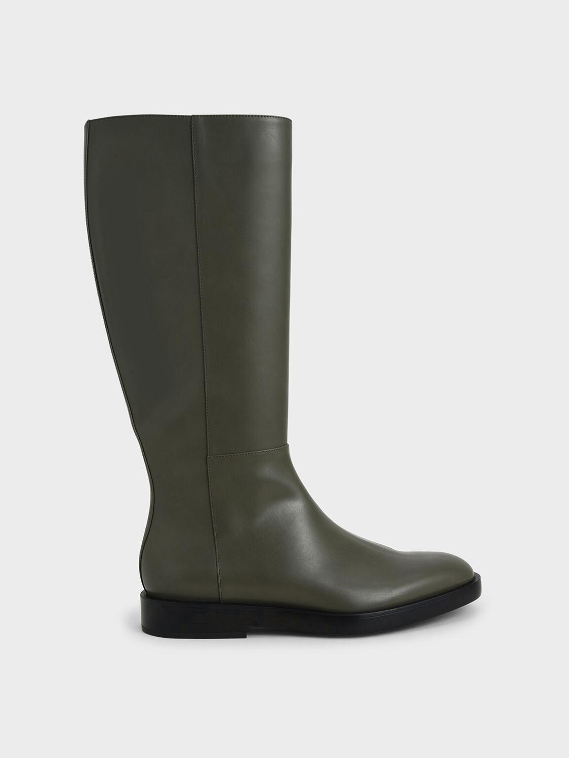 素面拉鍊長靴, 軍綠色, hi-res