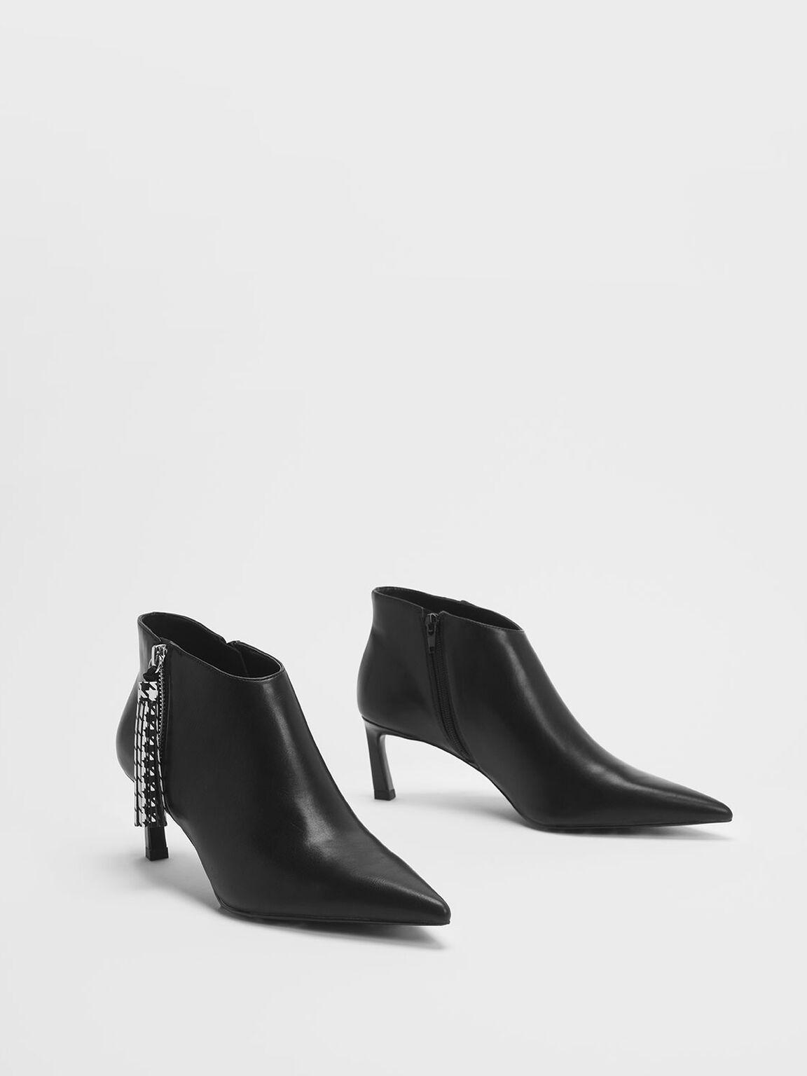 千鳥格流蘇踝靴, 黑色, hi-res