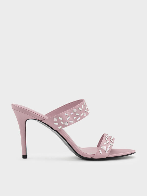Embellished Double Strap Mules, Pink, hi-res