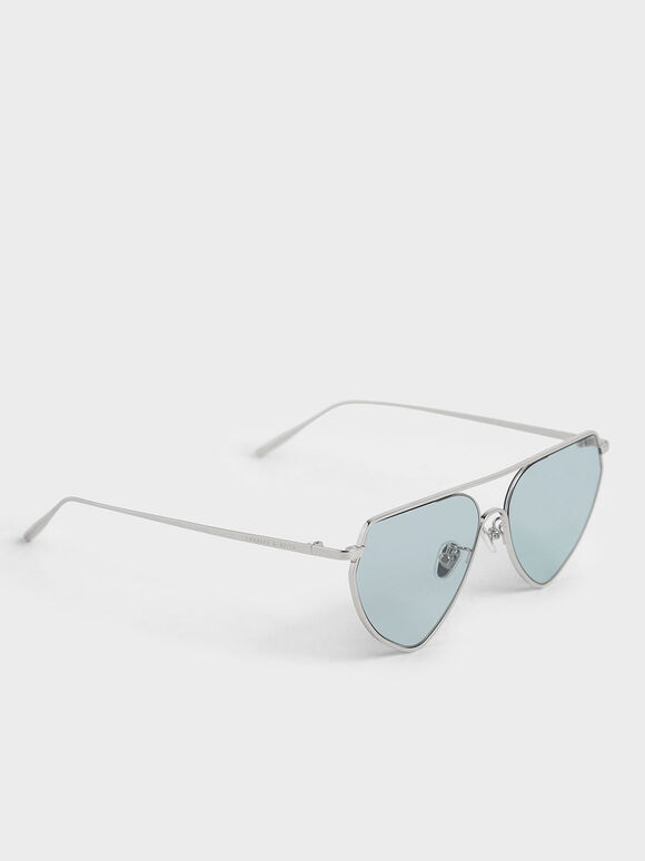 金屬框飛行員墨鏡, 藍色, hi-res