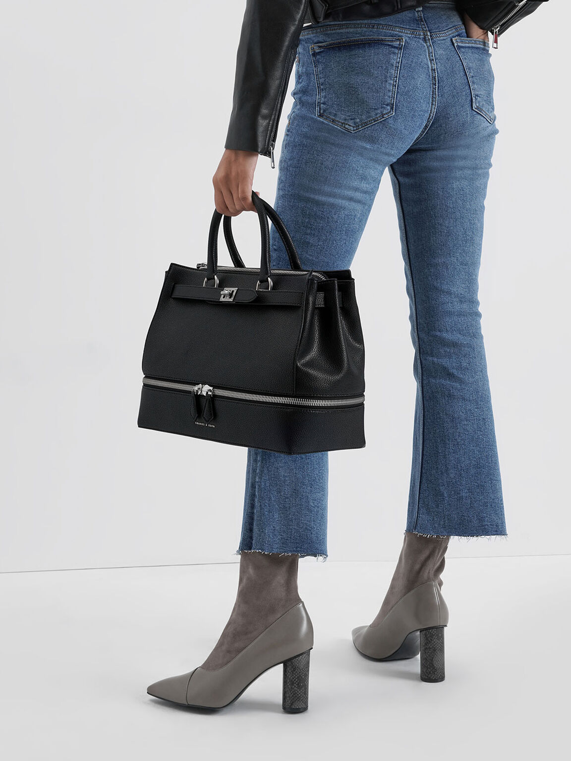 Large Two-Way Zip Tote Bag, Black, hi-res
