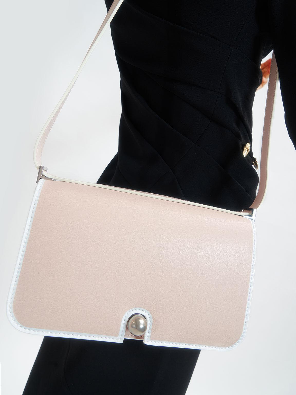 Metallic Push-Lock Shoulder Bag, Light Pink, hi-res