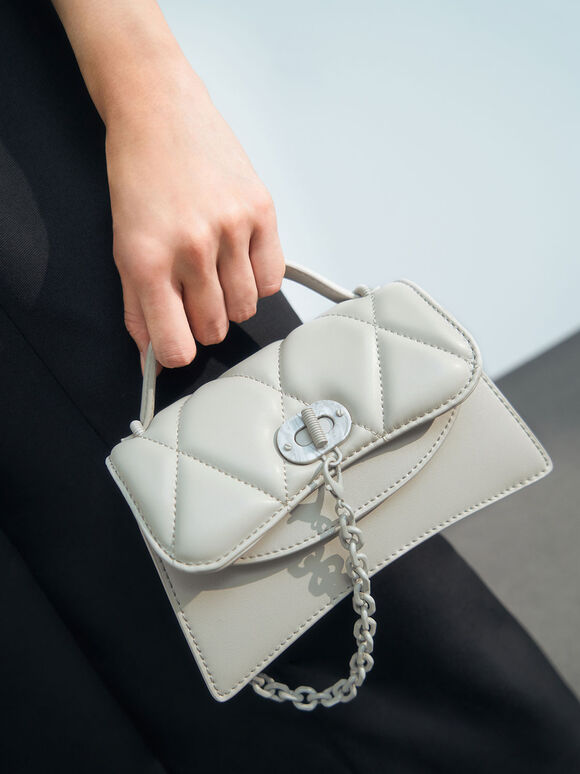 Padded Chain Link Bag, Grey, hi-res