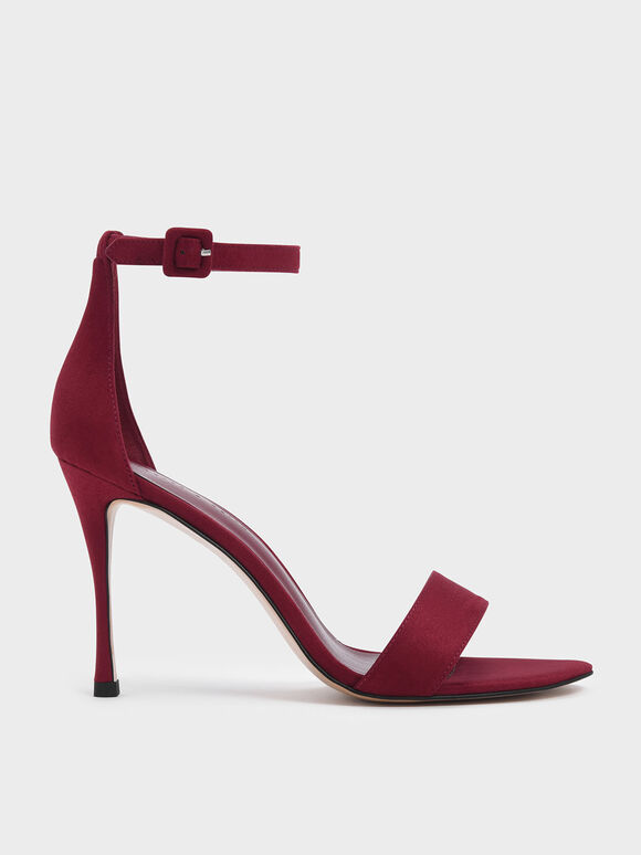 Textured Ankle Strap Stiletto Heels, Red, hi-res