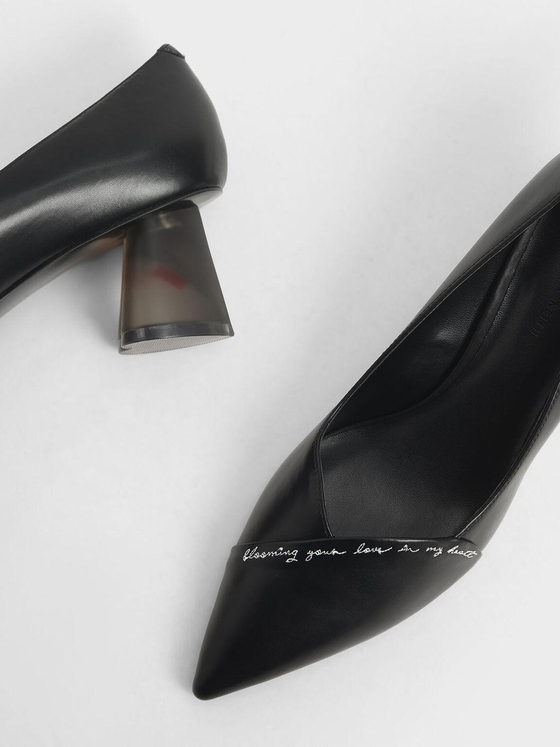 Embroidered Lucite Sculptural Heel Pumps, Black, hi-res