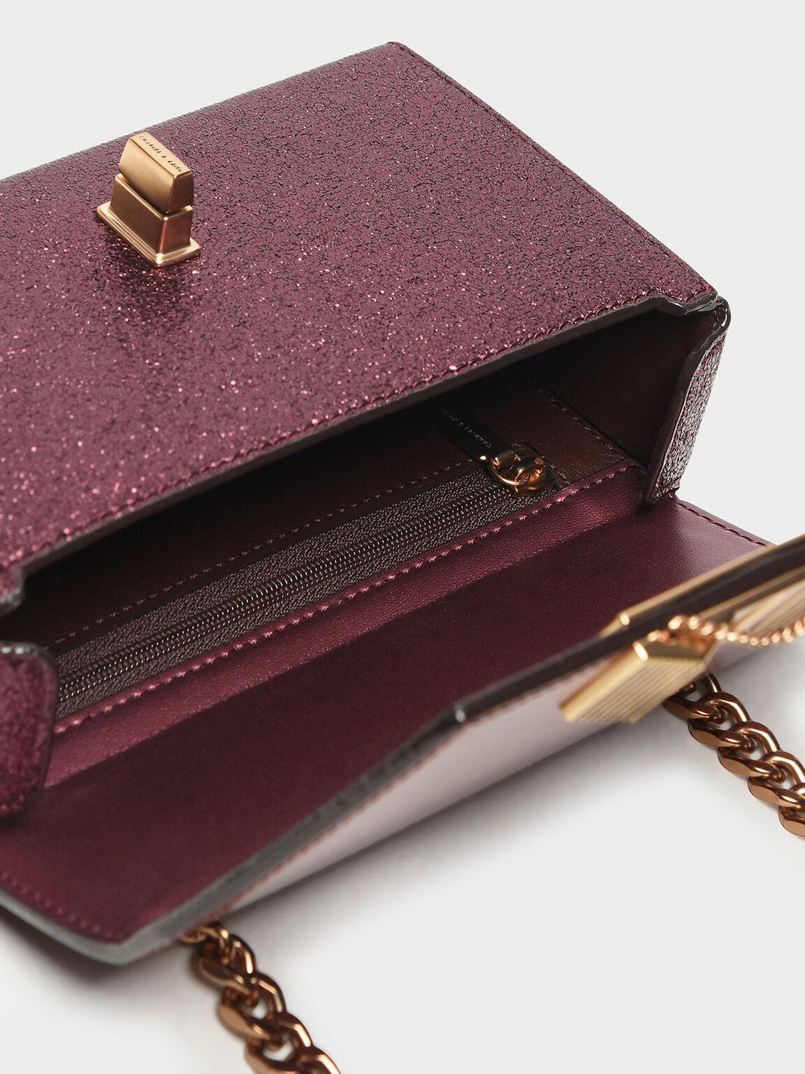 Chain Detail Turn Lock Bag, Prune, hi-res