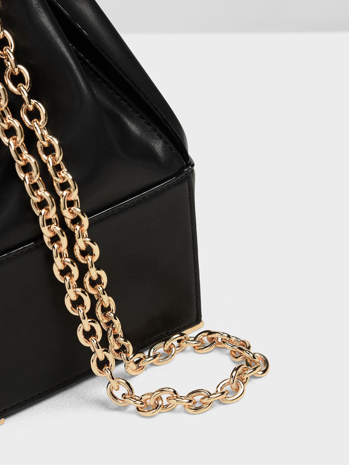 Chain Handle Bucket Bag, Black, hi-res