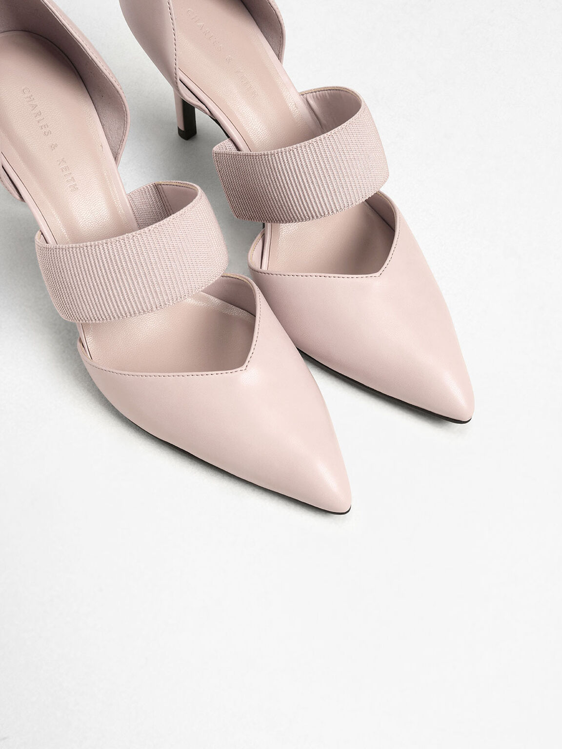 Ribbed Strap Pumps, Pink, hi-res